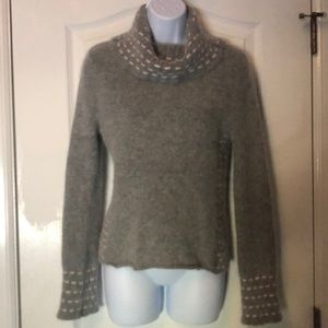 Angora Wool Blend Light Pink Grey Stitch Sweater